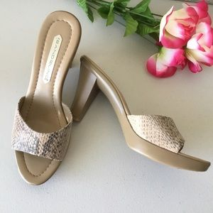 BANDOLINO Snakeskin Slip-On Heeled Sandals - Sz 9